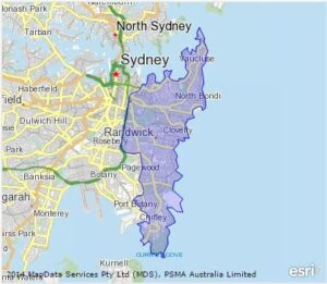 Eastern suburbs region highlighted on a map of Sydney