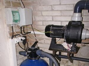 Swimming pool pump and other filtration equipment.